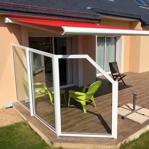 Pose d''un store et coup-vent sur terrasse en bois - Bretagne - 22