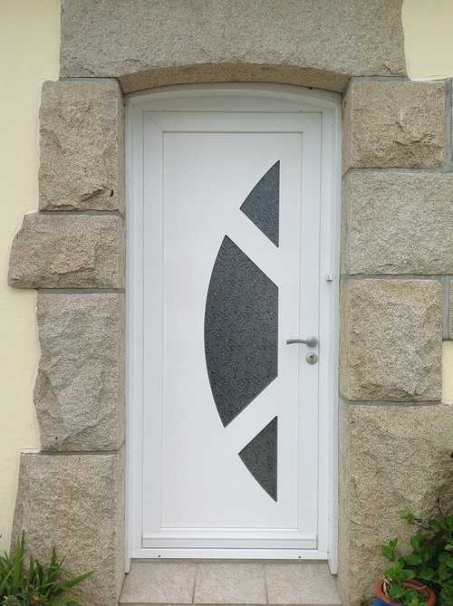 Porte d''entrée PVC avec inclusions verre en lune - Lannion 0