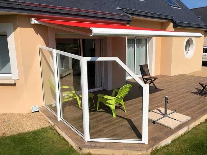 Pose d''un store et coup-vent sur terrasse en bois - Bretagne - 22 0