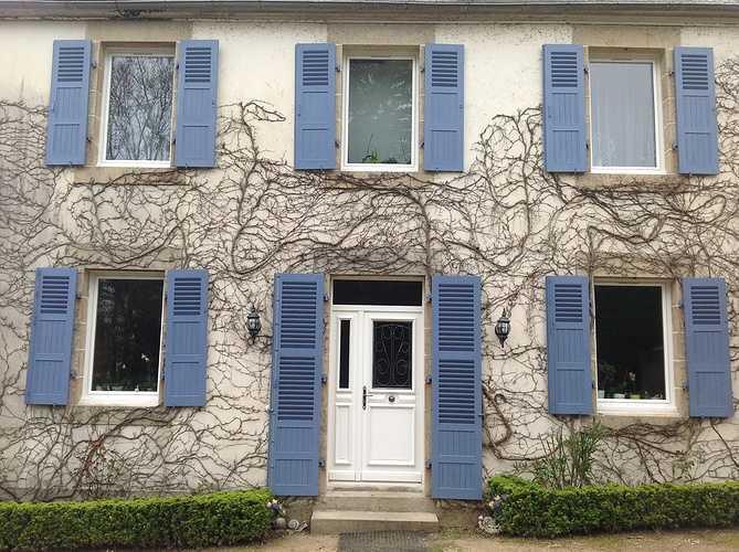 Fenêtres et porte d''entrée bois blanche, volets en bois bleu - Plestin 1312