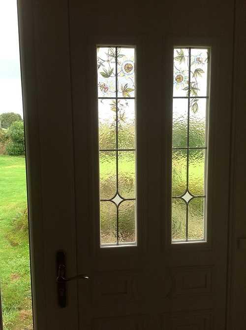 Porte d''entrée PVC vitres sérigraphiées, laiton - Prat 432