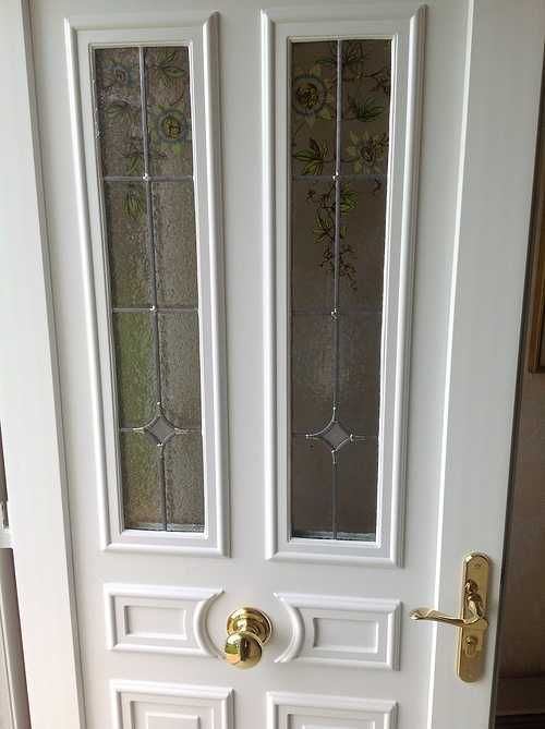 Porte d''entrée PVC vitres sérigraphiées, laiton - Prat 0