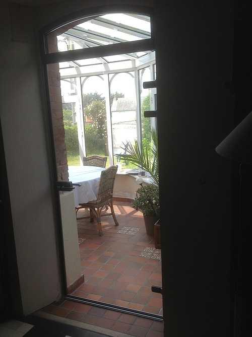 Sas double porte vitrée cadre alu sur véranda - Trébeurden 709