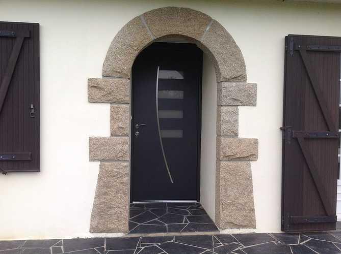 Porte d''entrée contemporaine alu bi couleur - Rospez 0