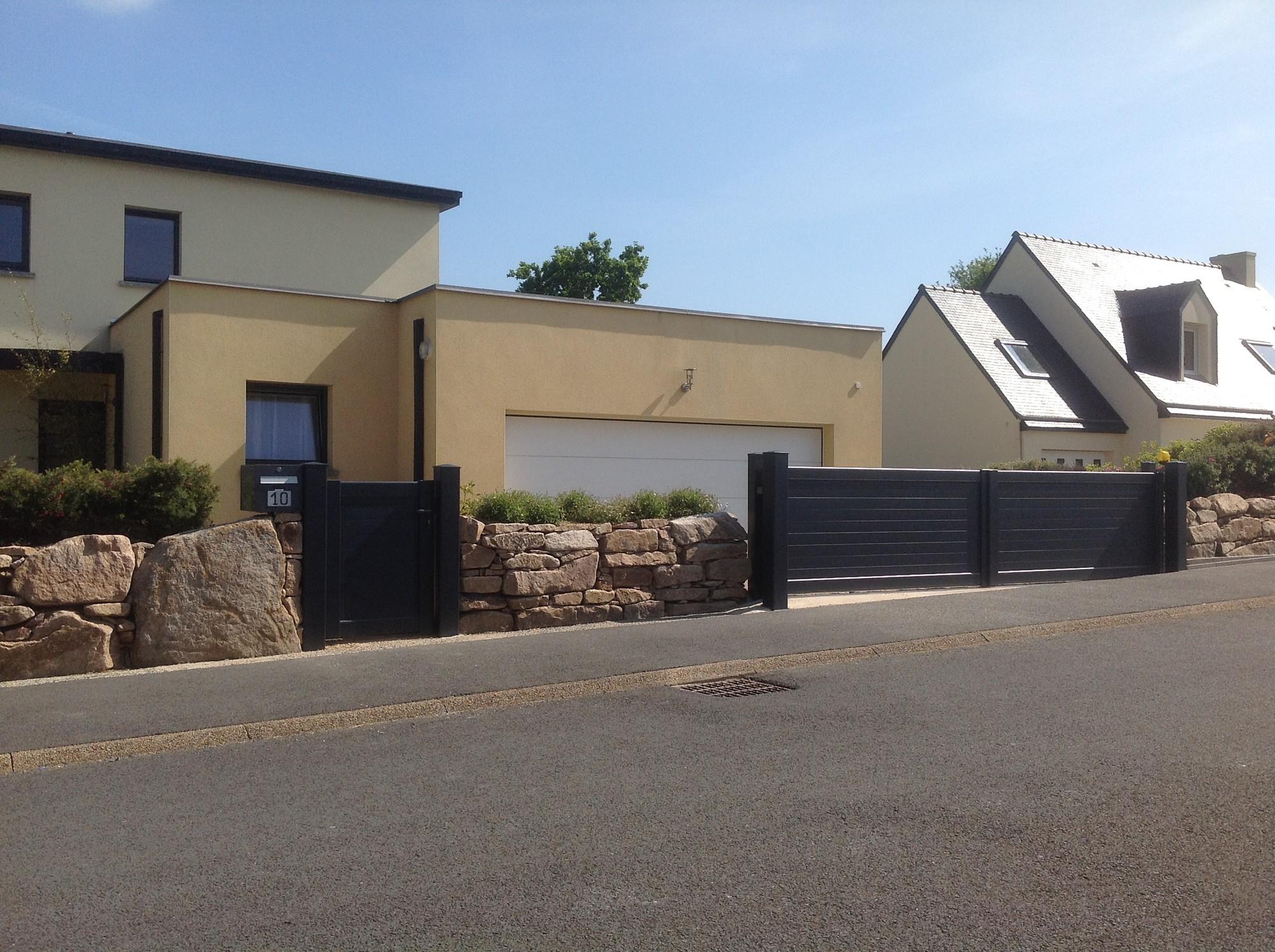 Portillon et portail coulissant alu motoris lannion for Portail garage motorise